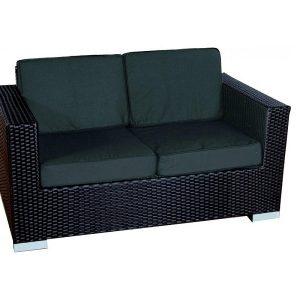 Loungeset malaga stoel plat zwart wicker for Plat kussen