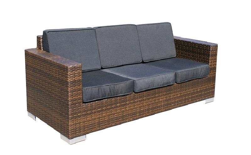 Loungeset malaga bank 3 zits plat bruin wicker verandacentrum - Zwarte bank lounge ...
