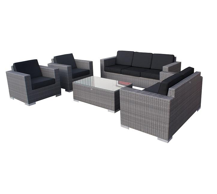 Lounge malaga tafel plat grijs wicker verandacentrum - Lounge grijs ...
