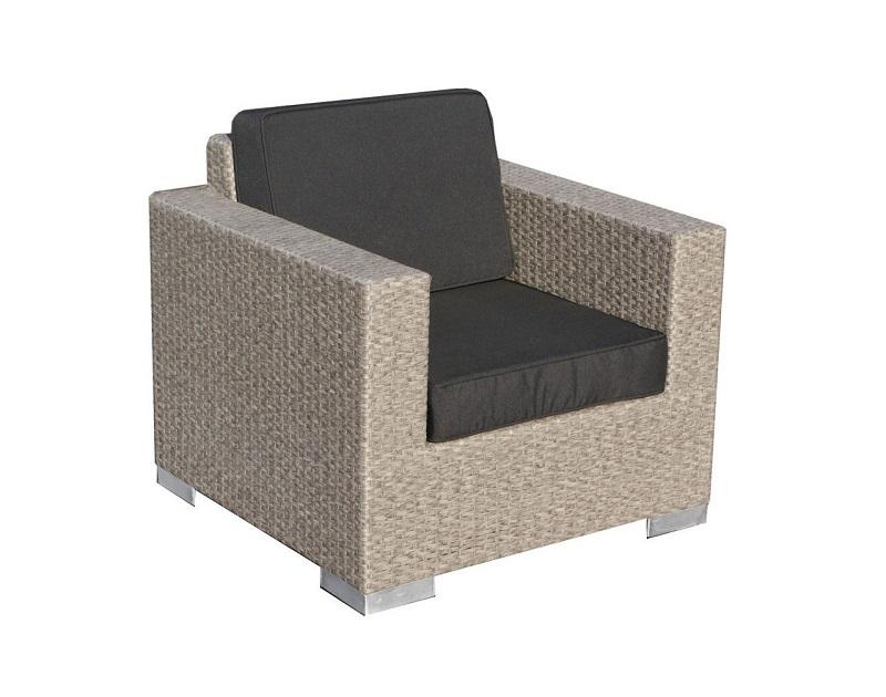 Loungeset malaga stoel plat geborsteld grijs wicker verandacentrum - Lounge grijs ...